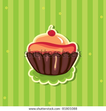 Cute retro cupcake on striped background. Raster version - stock photo