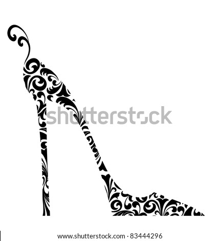 Cute retro fashion illustration of a high-heeled shoe with curlicues - stock photo