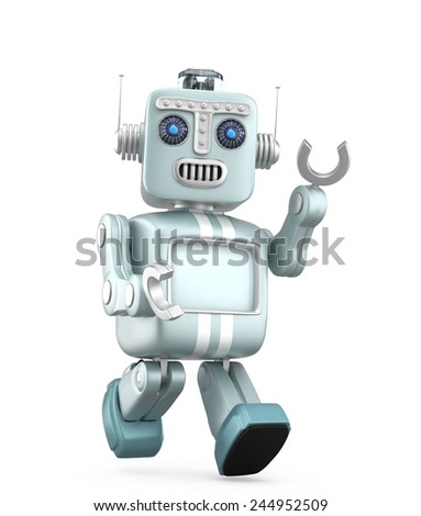 Cute retro robot walking and raising his left hand say hello. Clipping path available. - stock photo
