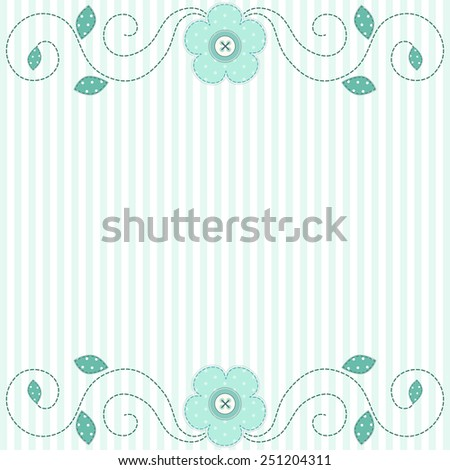 Cute retro spring card as patch fabric applique of flowers; can be used as wedding, birthday, baby or bridal shower invitation - stock photo