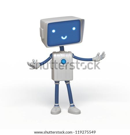 cute robot - stock photo