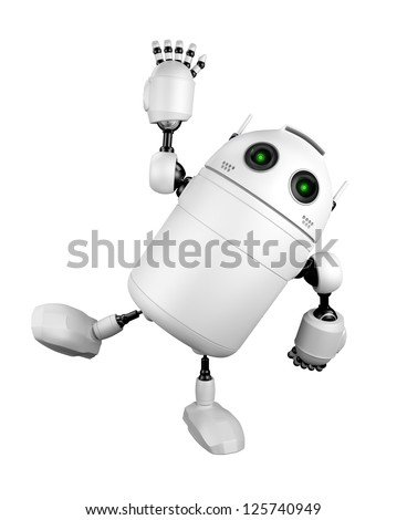 Cute Robot greeting and saying Hi. Isolated on white background - stock photo