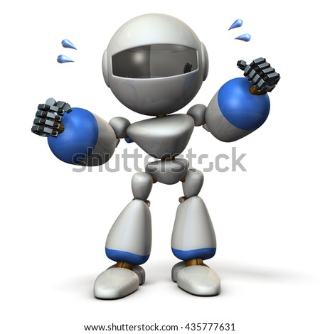 Cute robot have shown guts. 3D  illustration, - stock photo