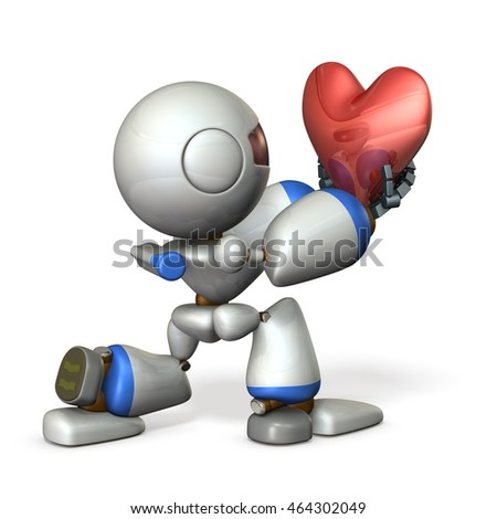 Cute robot hold out his sincerity. 3D illustration