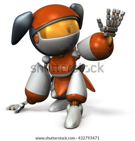 Cute robot is blocking something. 3D illustration - stock photo