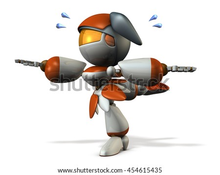 Cute robot is tempered the sense of balance. 3D illustration - stock photo