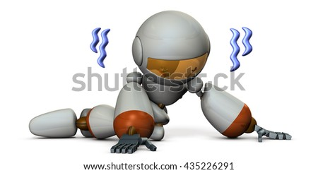 Cute robot is trembling in despair. 3D illustration - stock photo