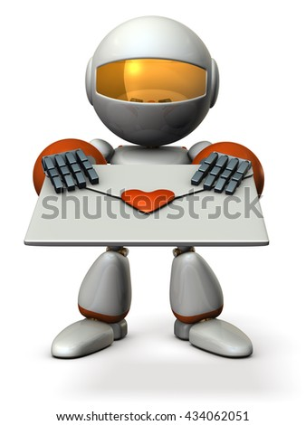 Cute robot that hold out a love letter. 3D illustration - stock photo