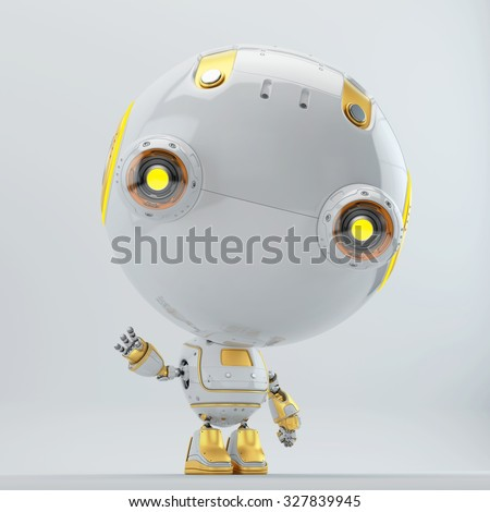 Cute robot toy toddler with bright yellow elements greeting / Robot toddler with yellow elements greeting - stock photo