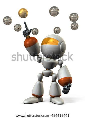 Cute robot will select the correct answer. 3D illustration - stock photo