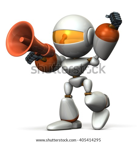 Cute robot with a loudspeaker, are cheering. 3D illustration, - stock photo