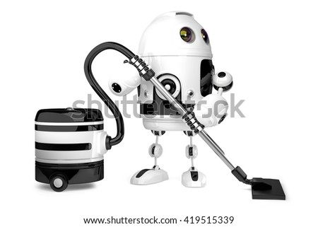 Cute Robot with vacuum cleaner. Isolated. 3D illustration. Contains clipping path.