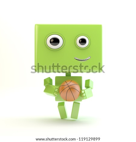 Cute robotic toy with basketball ball / Smiling athletic android