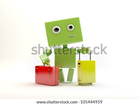 Cute robotic toy with colorful travel bags goes on vacation/Smiling robot with luggage