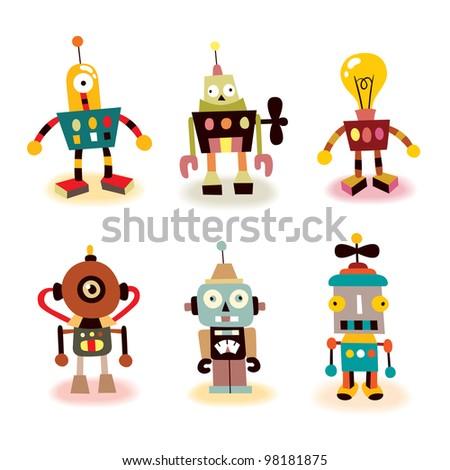 cute robots set - stock photo