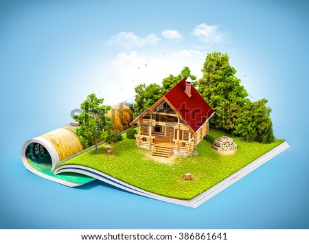 Cute rural house in a forest on a page of opened magazine.  Unusual travel illustration