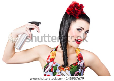 Cute 1980s brunette pinup woman with entwined hairstyle using hair product spray. Hair care