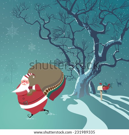 Cute Santa Claus delivers Christmas gifts. One gift he already put in mailbox. Deer watches from distance.Seasons Greetings concept. - stock photo