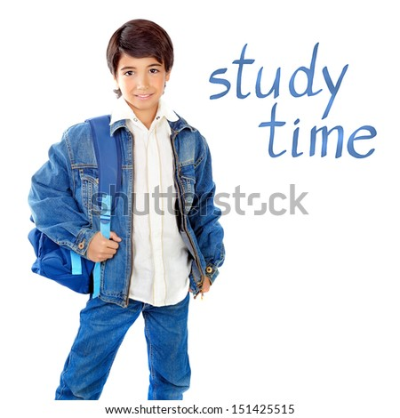 Cute school boy isolated on white background, study time, back to school, intelligent kid wearing jeans and holding backpack, education concept