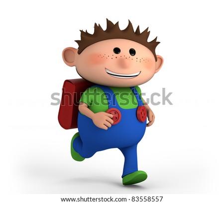 cute school boy running - high quality 3d illustration - stock photo