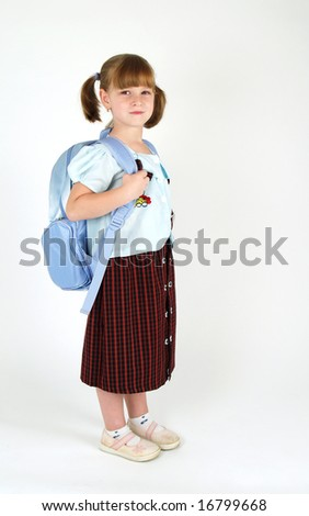 cute school girl with backpack