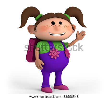 cute school girl with satchel - high quality 3d illustration - stock photo