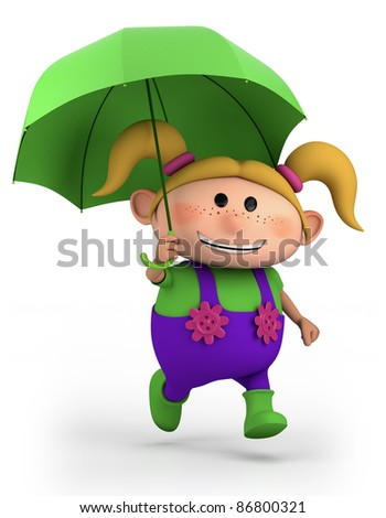 cute school girl with umbrella - high quality 3d illustration - stock photo