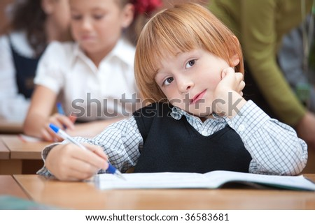 Cute schoolboy in classroom on real Lesson.