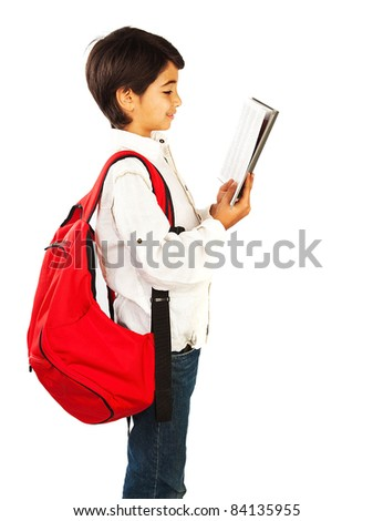 Cute schoolboy reading book, isolated on white background, teenage education concept - stock photo