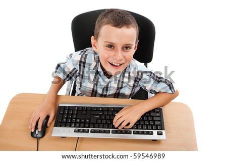 Cute schoolboy using keyboard and mouse, isolated on white background