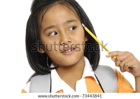 Cute schoolgirl thinking, notebook held in arm and pencil in head Isolated - stock photo