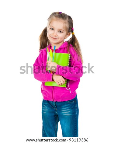 Cute schoolgirl with notebook on white background - stock photo