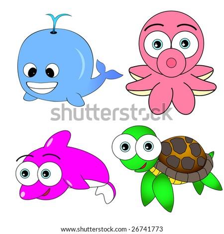 Cute Sea Animal Set - stock photo