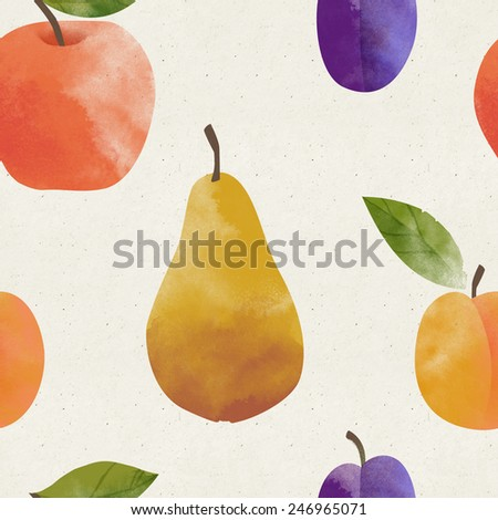 Cute seamless fruit pattern on paper background. Fruity patterns collection - stock photo