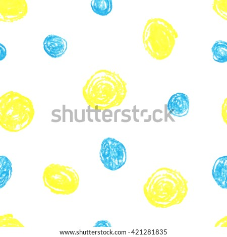 Cute seamless grunge childish pattern of the crayon yellow and blue stains on white background. Design for background, textile, paper packaging, wrapping paper and other. Raster copy of vector file. - stock photo