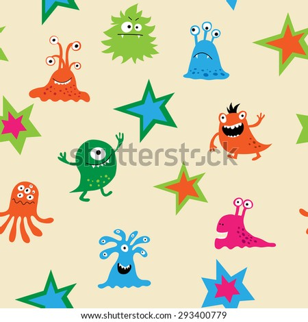 Cute seamless pattern with a monsters - stock photo