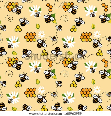 Cute seamless pattern with bees, honey and chamomiles