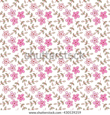 Cute seamless pattern with flowers . Cute doodle flower background.