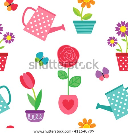 Cute seamless pattern with flowers in pots and watering cans. Raster version - stock photo