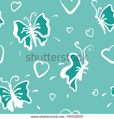 cute seamless pattern with hearts and butterflies in jpg - stock photo
