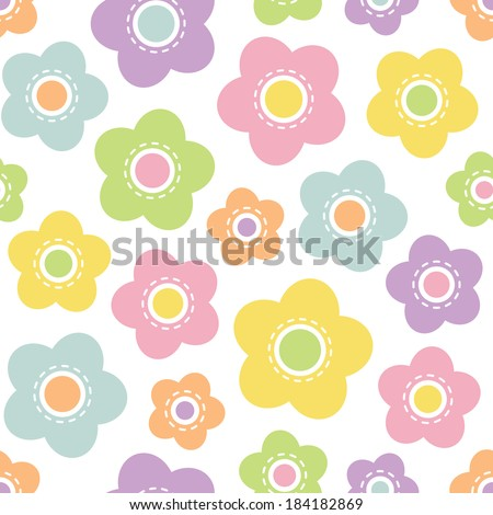 Cute seamless retro background pattern with pastel flowers in spring colors for baby, Mother's Day, Easter, gift wrapping paper. Raster version. - stock photo