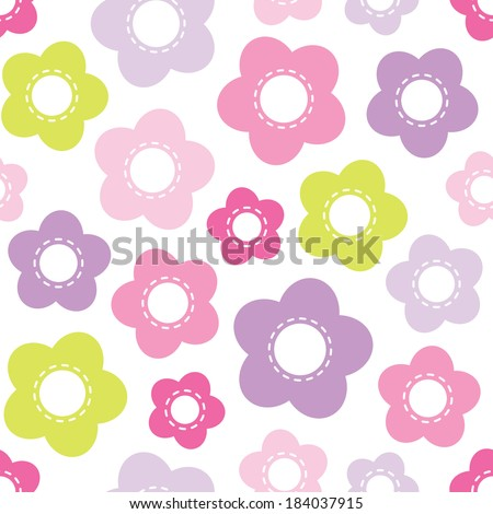 Cute seamless retro background pattern with pink and purple flowers for baby, Mother's Day, Easter, gift wrapping paper. Raster version. - stock photo