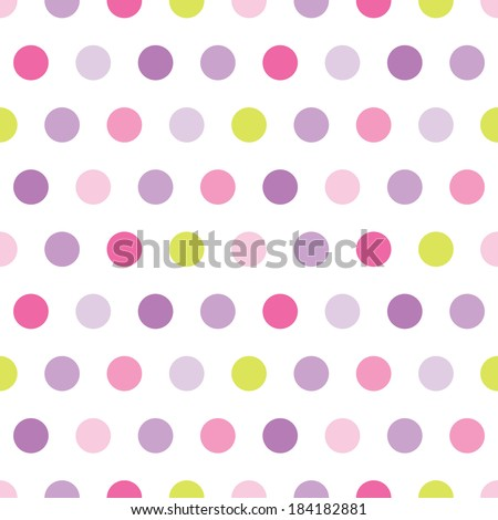 Cute seamless retro background pattern with pink and purple polka dots for baby, Mother's Day, Easter, gift wrapping paper. Raster version. - stock photo