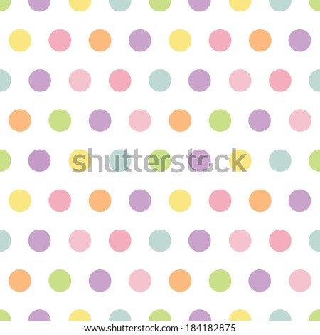 Cute seamless retro polka dots pattern in spring colors for baby, Mother's Day, Easter, gift wrapping paper. Raster version. - stock photo