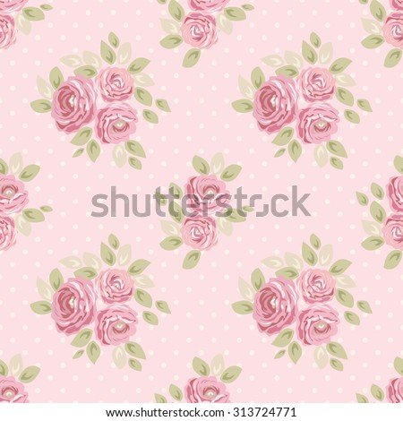 Cute seamless Shabby Chic pattern with roses and polka dots ideal for kitchen textile or bed linen fabric, curtains or interior wallpaper design, can be used for scrap booking paper etc - stock photo