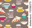 Cute seamless tea party pattern - stock