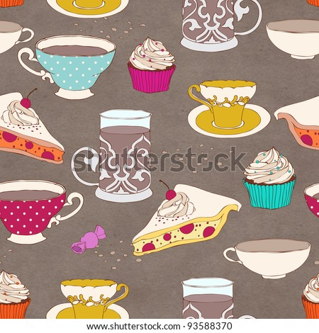 Cute seamless tea party pattern