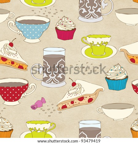 Cute seamless tea time pattern