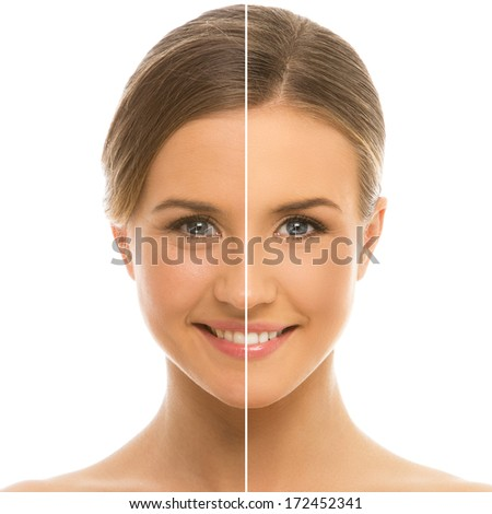 Cute, serious woman with perfect, clean skin - stock photo