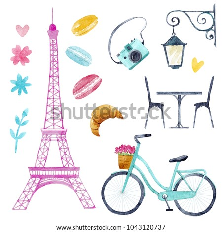 Cute Set Of Isolated Illustrations City Paris Pink Eiffel Tower Bicycle Street